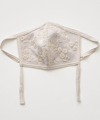 【マスク】銀ナノ フラワー刺繍オーガンジーマスク