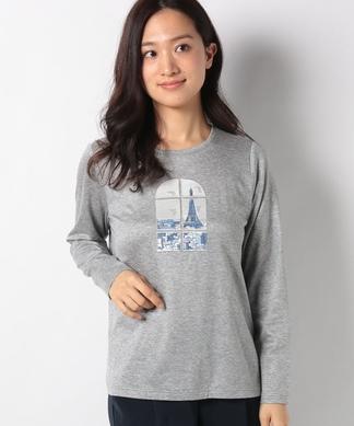 風景×窓プリントTシャツ