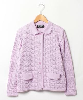 柄編みニットジャケット