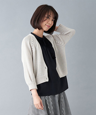 コットン編みカ-ディガン