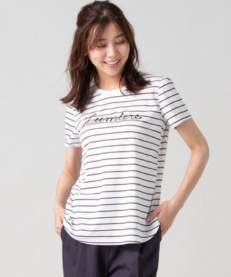 刺しゅうロゴボーダーTシャツ
