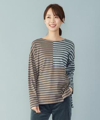 【leilian the week】切り替えボーダーTシャツ