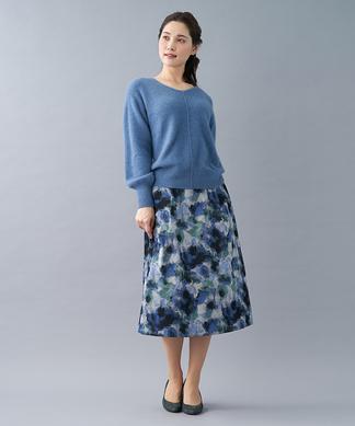 【ウインターコレクション】フラワー柄ジャカードスカート
