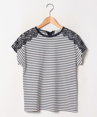 【NEMIKA】ショルダレースボーダーTシャツ