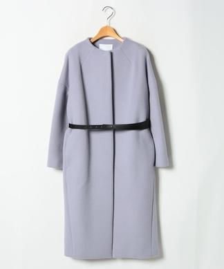 【ELENDEEK】ベルト付きノーカラーコート