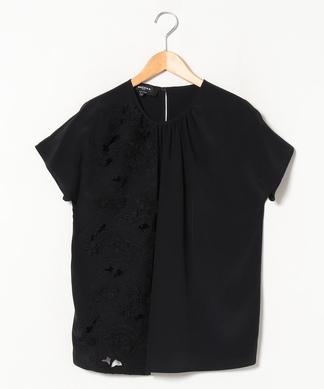 【ROCHAS】フラワー刺繍半袖ブラウス