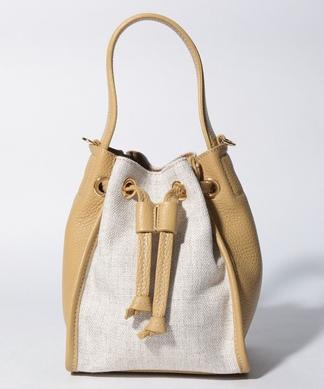 【PAOLA NUTTI】異素材切替巾着ショルダーバッグ