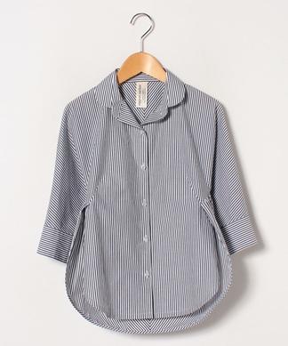 ストライプ柄7分袖シャツ