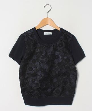 フラワー刺繍半袖ニットプルオーバー