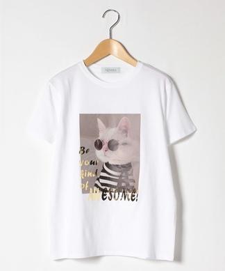 猫プリントTシャツ