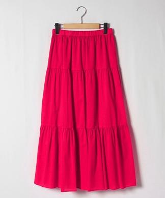 【FIL BLANC】シルク混ティアードスカート
