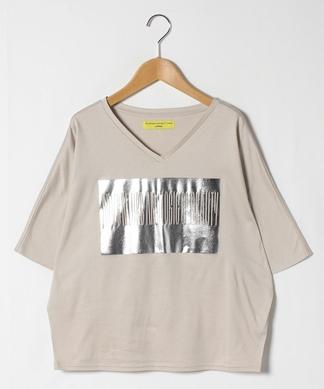 【LIROMA】ボックスロゴ箔プリントTシャツ