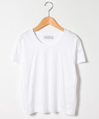 サイドチュール&レース切り替えTシャツ