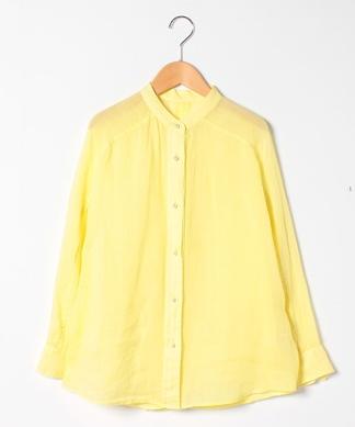 麻バンドカラー長袖シャツ