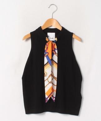 【ALLUDE】スカーフ付きノースリーブニットトップス