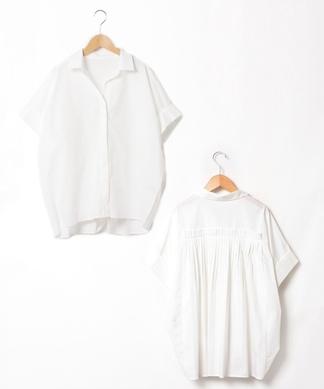 【Lallia Mu】オープンカラー半袖ブラウス