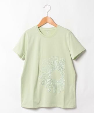 【PUPULA】フラワー刺繍Tシャツ