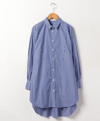 ストライプ柄ロング丈長袖シャツ