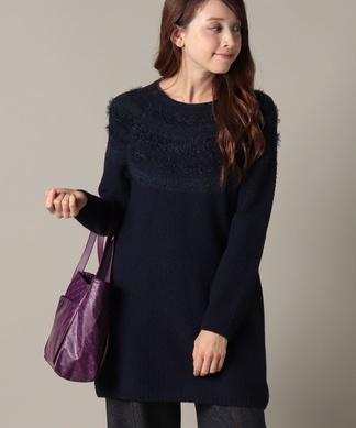 【エクラ11月号掲載商品】フェザーモール編み柄セーター