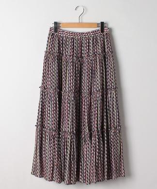 【セットアップ対応商品】幾何学プリントティアードロングスカート