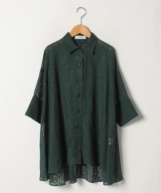 リーフ柄ロングフレアシャツ