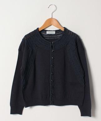 編み柄ミックスカーディガン