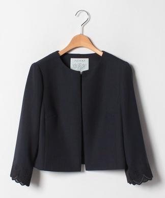 【セットアップ対応商品】袖刺繍ノーカラージャケット