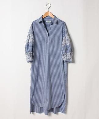 袖刺繍ストライプワンピース