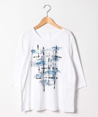 【Lサイズ企画】プリント&スパンコールデザイン7分丈Tシャツ