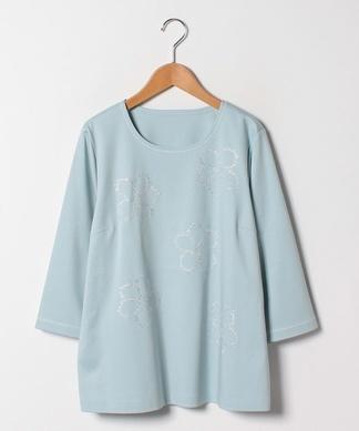【Lサイズ企画】ラメフラワープリントTシャツ