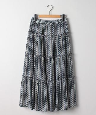 【セットアップ対応商品】幾何学柄ティアードスカート