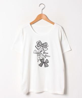 リボンデザイン刺繍Tシャツ