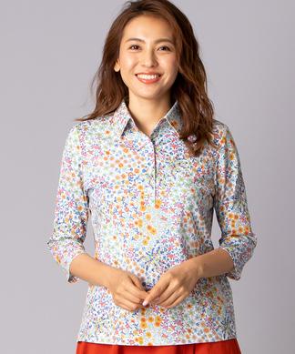 【BINDA】フラワープリントポロシャツ