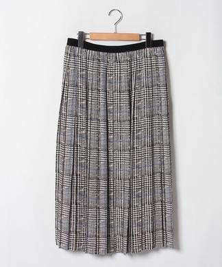【セットアップ対応商品】【Lサイズ企画】グレンチェックプリーツスカート