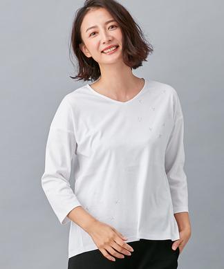 星柄刺繍Vネック7分袖Tシャツ
