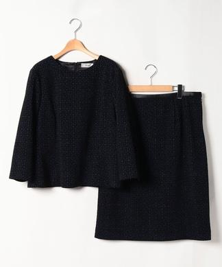【プラス企画】幾何学模様ブラウス×スカートセット