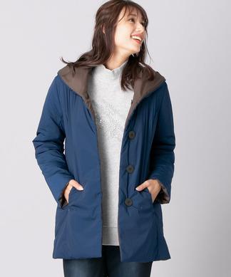 リバーシブルフード付き中わたコート