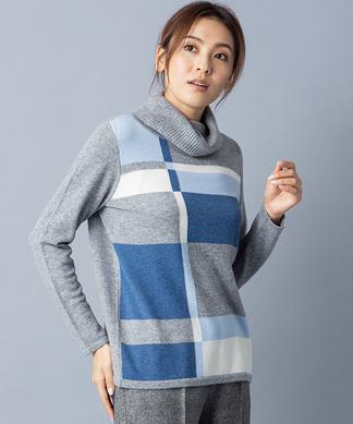 【特別提供品】カシミヤカラーブロックニット
