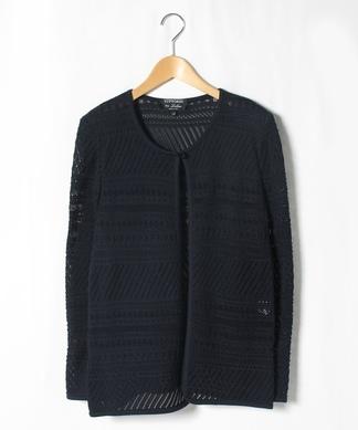 透かし柄編みニットジャケット