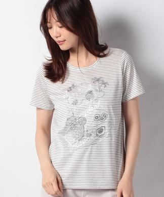 刺繍ボーダーTシャツ