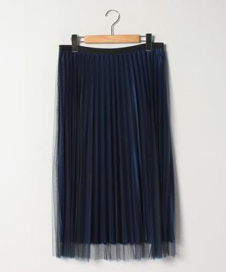 チュール重ねプリ-ツスカート