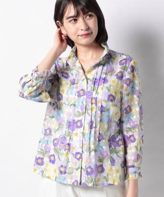 フラワープリントスタンドネックシャツ