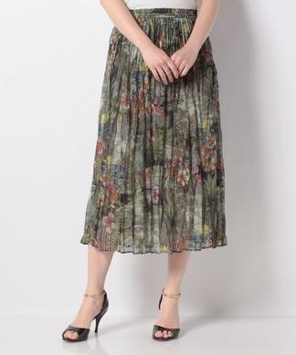 【エクラ6月号掲載】【ERICA】ボタニカル柄ロングプリーツスカート
