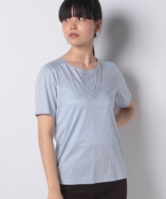 【ROCHAS Premiere】透かし刺繍半袖Tシャツ