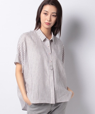 【SOMELOS】プルオーバーストライプシャツ