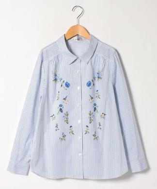 【プラス企画】ストライプ×フラワープリントシャツ