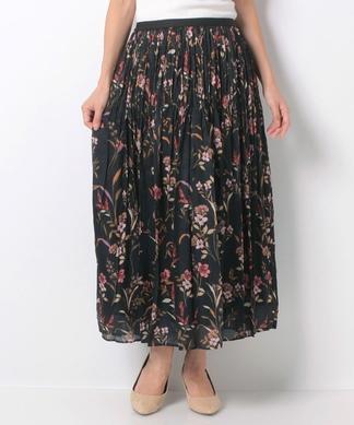 花柄消しプリーツロングスカート