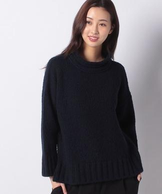 【LE TRICOT PERUGIA】ワイドリブ切り替えセーター
