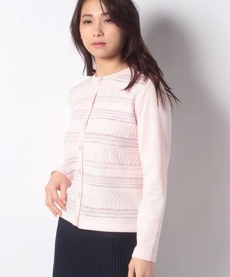 柄編みカラーカ-ディガン
