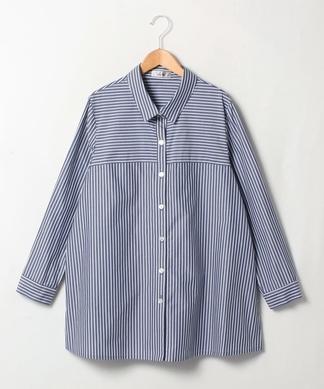 【プラス企画】ストライプ柄長袖シャツ